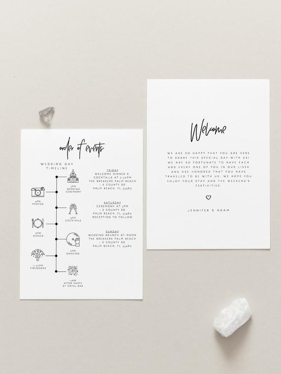 Welcome Bag Letter Itinerary Modern Calligraphy Editable Wedding Black White Timeline Printable Order O Itinerary Design Wedding Itinerary Wedding Details Card