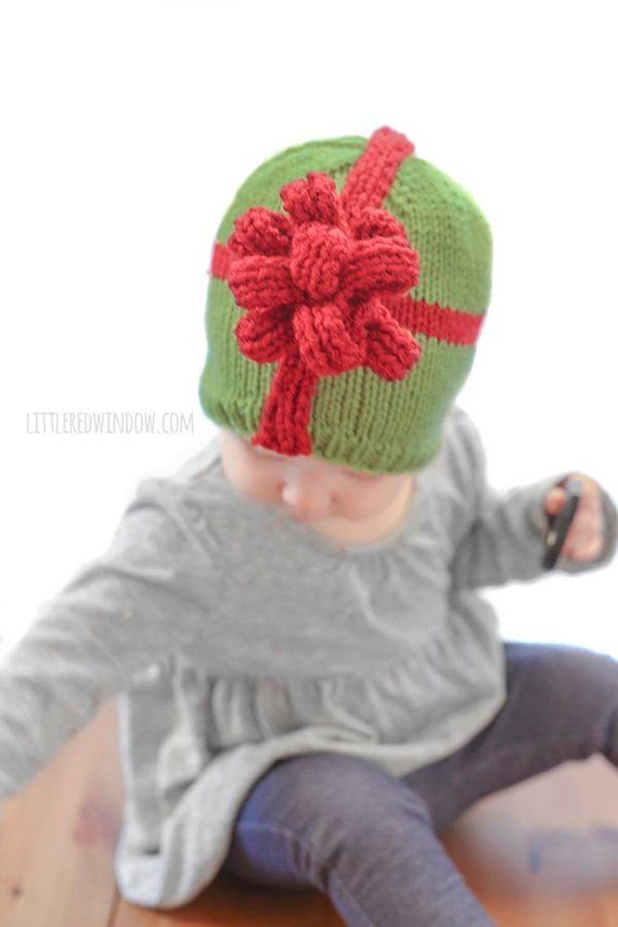 Christmas Present Bow Hat KNITTING PATTERN   My First  eb1288a8853