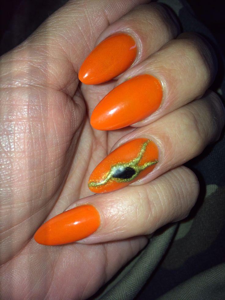 Neon orange from organicnails