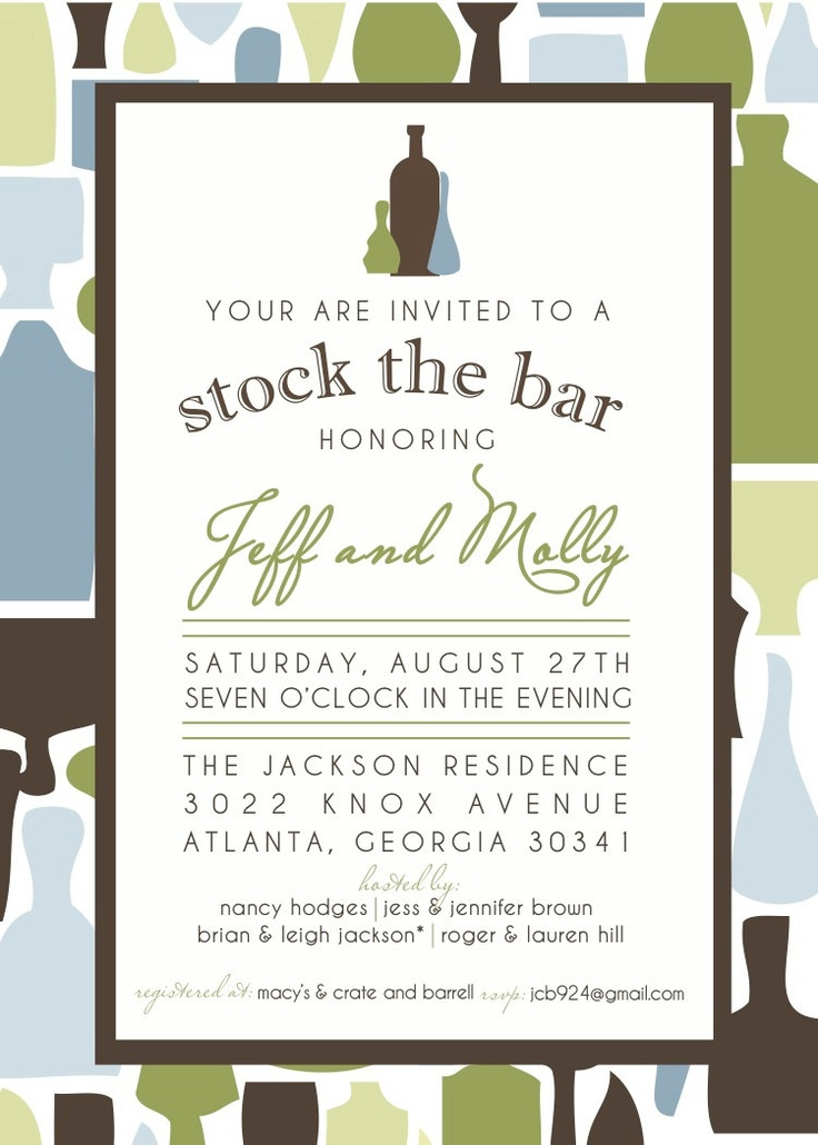17 best images about stock the bar invitations on