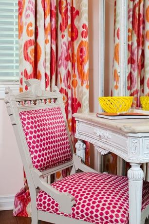 Eclectic Kids Bedroom with Richtex Home Ikat Floral Redbud Drapery Fabric, Hardwood floors, Madeline Weinrib Mu Ikat Fabric