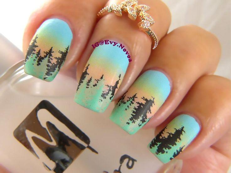 #uñasestampadas #sexynails #moda #estilo #style #fashion #fashionnails #winternails #sunsetnails #pinetreesnails