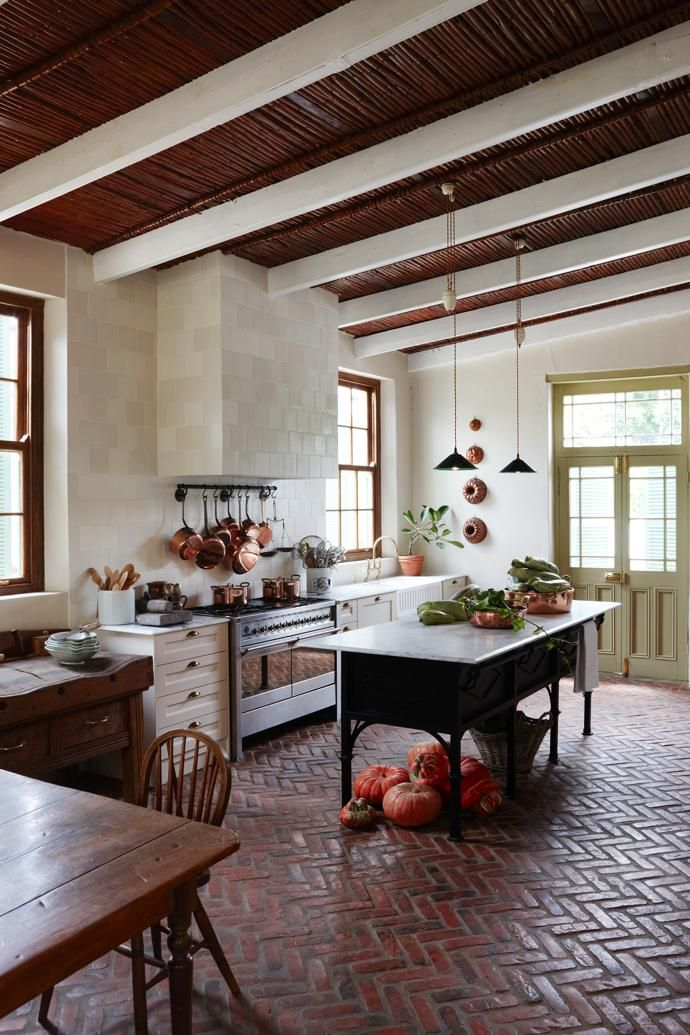Jacques wanted a farm-style kitchen reminiscent of the one from his childhood home. The floor is new, laid with specially commissioned bricks with apatina evocative of 160years of footfall.