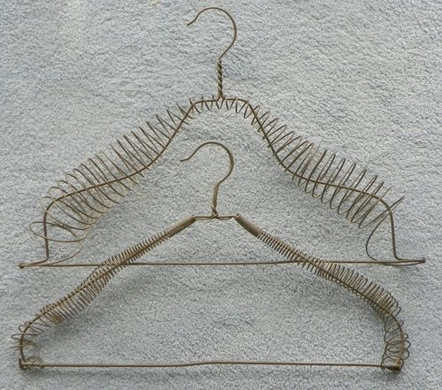 2 Hand Made Wire Clothes Hangers, Victorian, 19th century