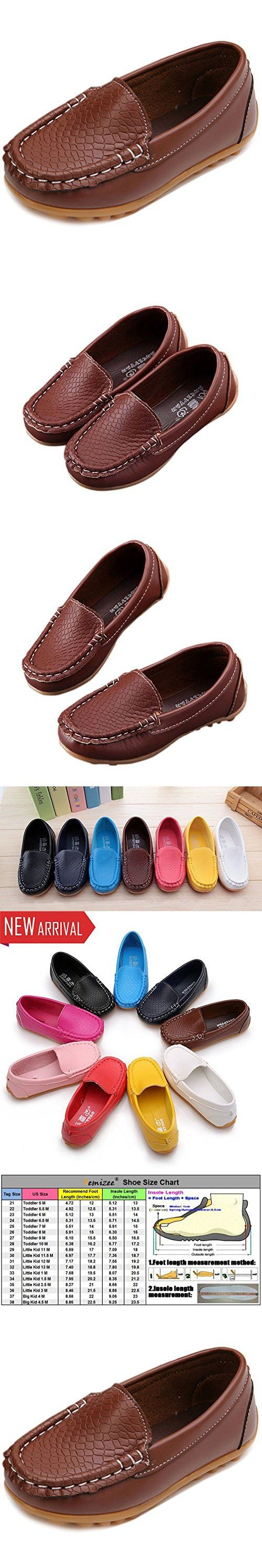 Femizee Casual Toddler Kid Boys Girls Loafers Shoes,Brown,9 M US Toddler