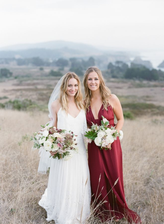 Pretty red fall bridesmaid gown: http://www.stylemepretty.com/2016/03/07/intimate-coastal-california-wedding-in-autumn/ | Photography: Lucy Cuneo - http://www.lucycuneophotography.comy/