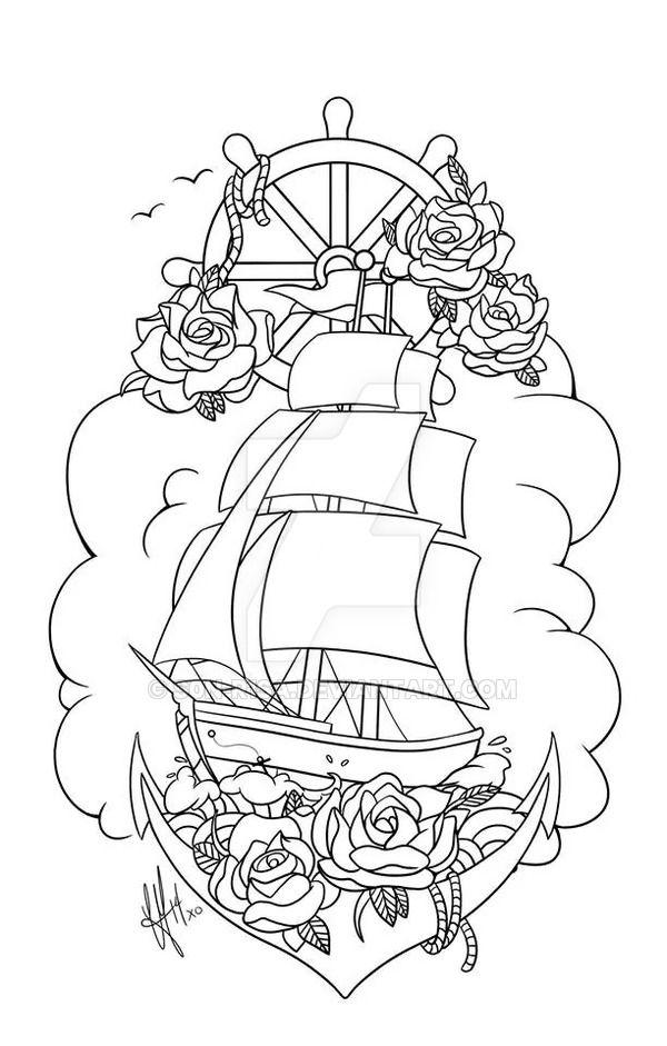 Pirate Ship Tattoo by s0n-R1sA