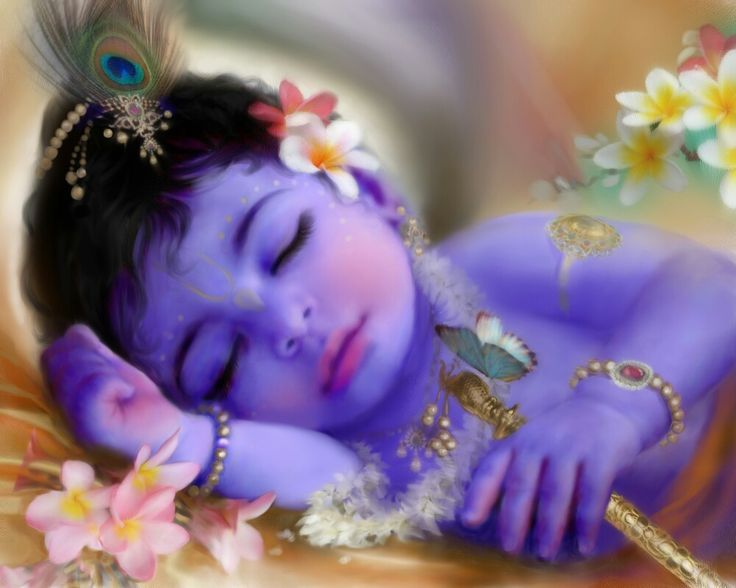 Sleeping Baby Krishna. After feeding her son, Yasodagazed affectionately at Him in wonder.  She saw her child's body as made of dazzling blue sapphires. His mouthresembled a red bimba fruit and His hands and feet looked like exquisiterubies. [Ananda Vrindavan Champu, Ch 2]