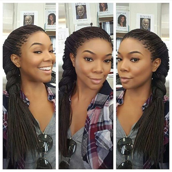 Gabrielle Union looked picture perfect while rocking her micro braids. Cute!