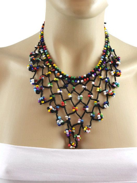 crocheted chokers | Hand Crochet Colorful Choker Necklace with Multicolor beads ...