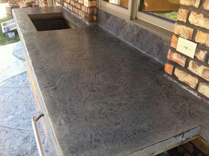 Concrete Countertops Stamped Concrete Countertop Desert Slate Titanium Grey Ecostain
