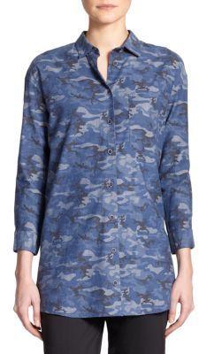 ATM Anthony Thomas Melillo Camo Boyfriend Shirt - Shop for women's Shirt - ROYAL COMBO Shirt