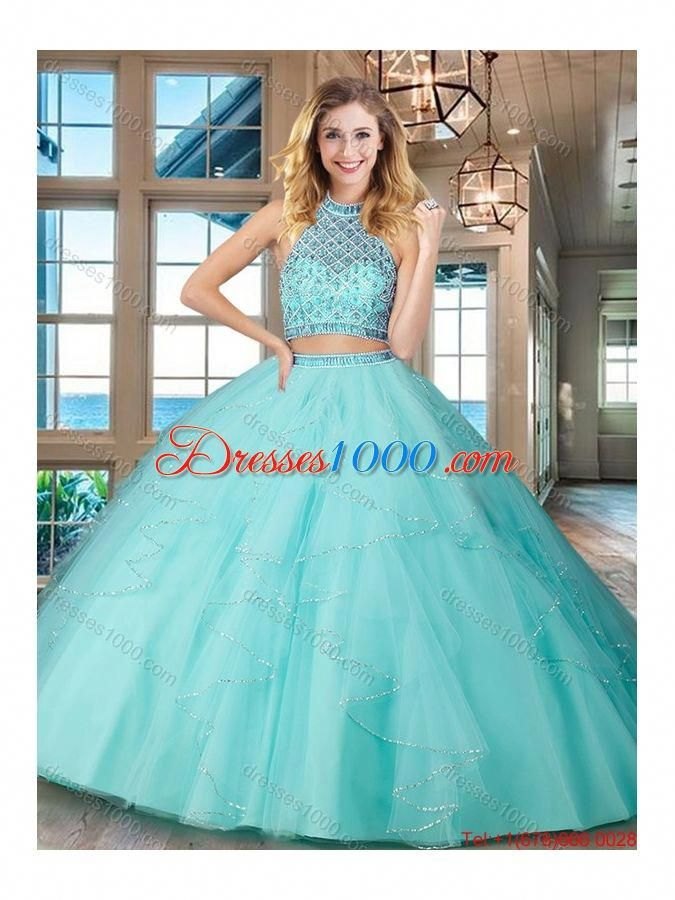 baceb49badf Simple Puffy Skirt Aqua Blue Quinceanera Dress with Ruffles and Beading   simplequinceaneradresses