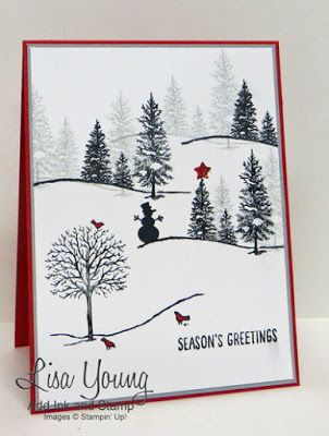 handmade Christmas/winter card from Add Ink and Stamp ... black and white with pops of red ... luv how Lisa created this snowy scene ...  Stampin' Up!