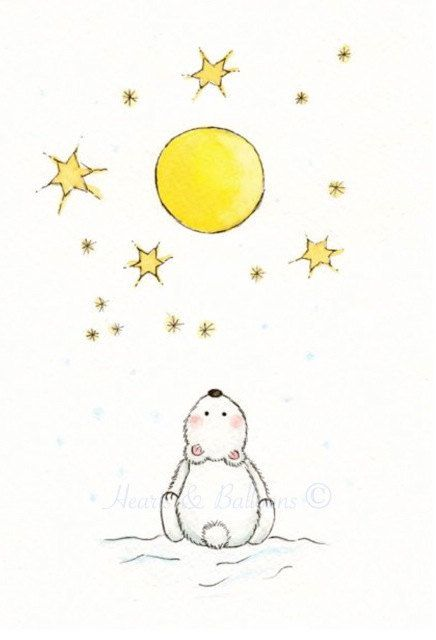 Nursery art ORIGINAL watercolourStarry night by heartsandballoons, $15.00