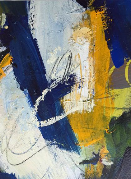Beautiful blues, green and golds are incorporated into this original contemporary piece. This painting is mixed media on canvas paper, It