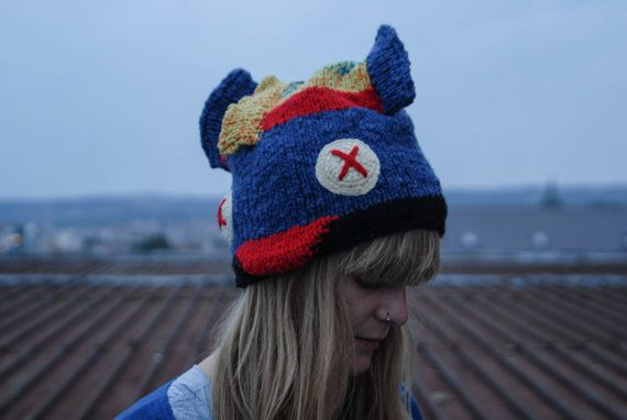 Blue yellow red FISH hat hand knitted by giantscanfly on Etsy