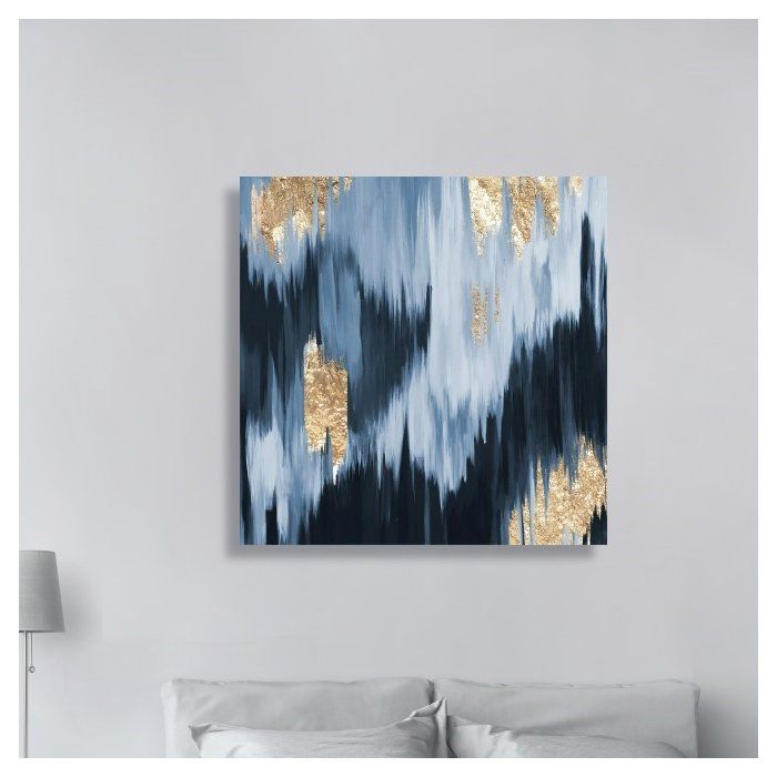 Gold Blue Fall Framed Oil Painting Print On Wrapped Canvas Painting Canvas Painting Wall Art Painting
