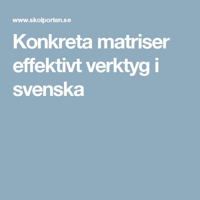 Konkreta matriser effektivt verktyg i svenska