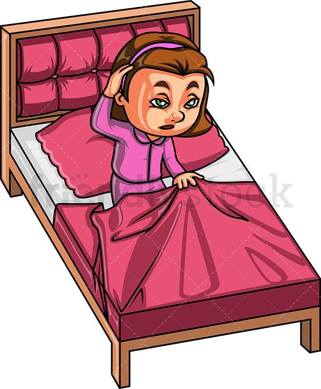 Little Girl Waking Up Cartoon Clipart Vector FriendlyStock Cartoon clip art Children illustration Little girls