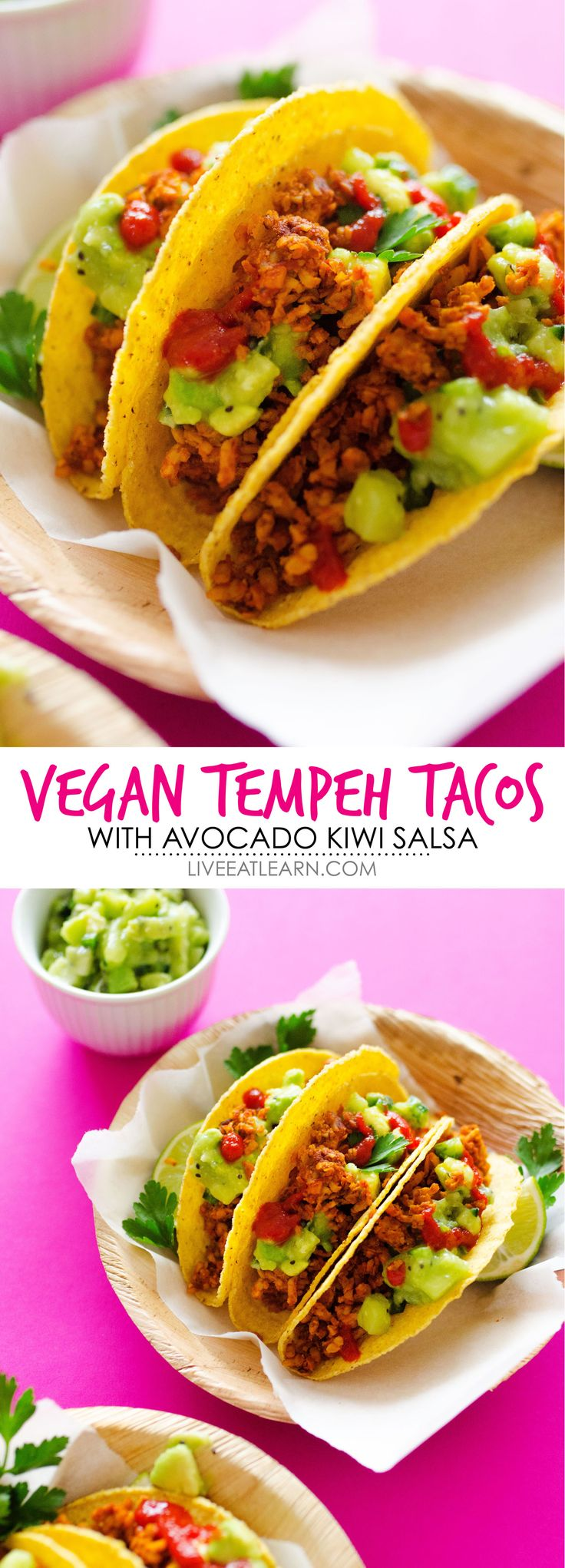 This healthy Tempeh Tacos recipe tastes just like meat, and with Avocado Kiwi Salsa, it's a refreshingly unique, flavor-packed, and delicious vegetarian meal you're going to love. Perfect for Meatless Monday, Taco Tuesday, or whenever you don't feel like cooking. // Live Eat Learn