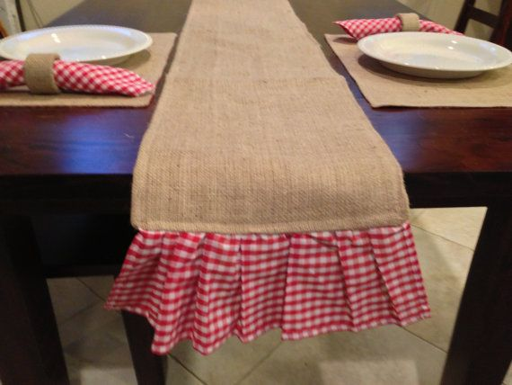 Items Similar To Burlap U0026 Gingham Ruffle Table Runner  6 Foot X 12 Inches  On Etsy