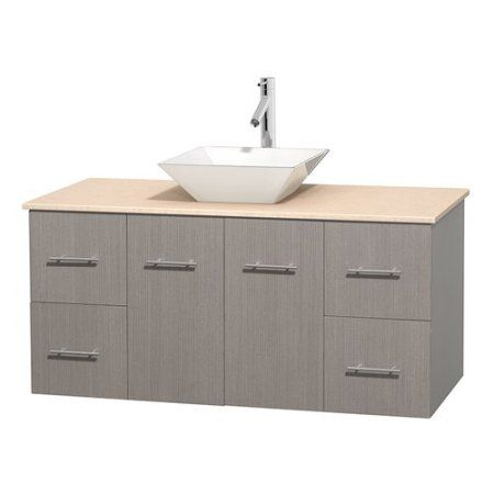 Wyndham Collection Centra 48 inch Single Bathroom Vanity in Gray Oak, White Carrera Marble Countertop, Pyra Bone Porcelain Sink, and No Mirror, Beige