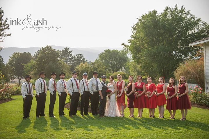 Wedding Party Portrait, in the Penticton Rose Garden. Reception site - SS Sicamous Stern Wheeler, just beside the garden. Photo by Ink and Ash Photography