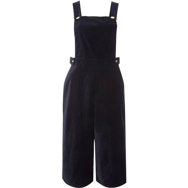 Dorothy Perkins Pinny Style Culottes (£50) ❤ liked on Polyvore featuring pants, capris, blue, women, blue pants, cotton trousers, dorothy perkins, blue trousers and cotton pants