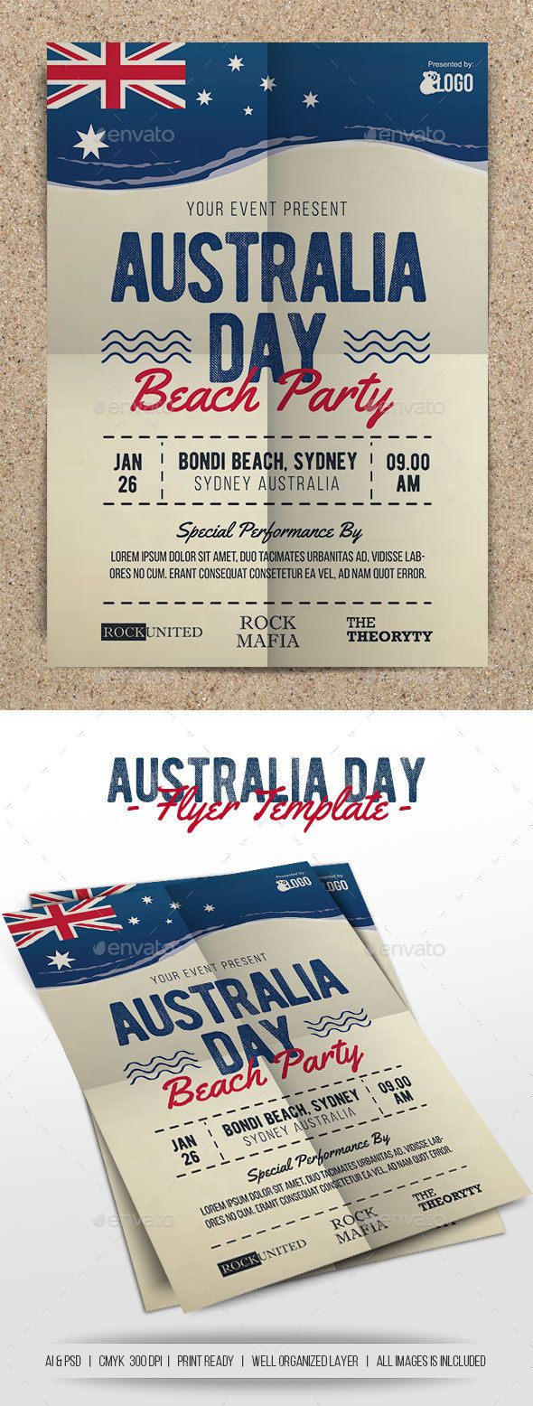 Australia Day Beach Party Flyer Template PSD, AI Illustrator