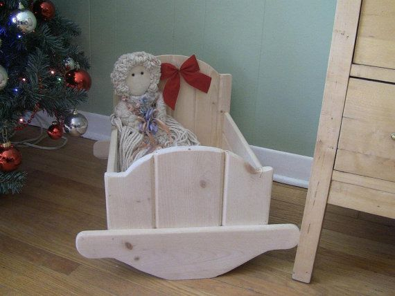 Doll Cradle Unfinished Pine 20 long 15 by CanadianWoodenCrafts