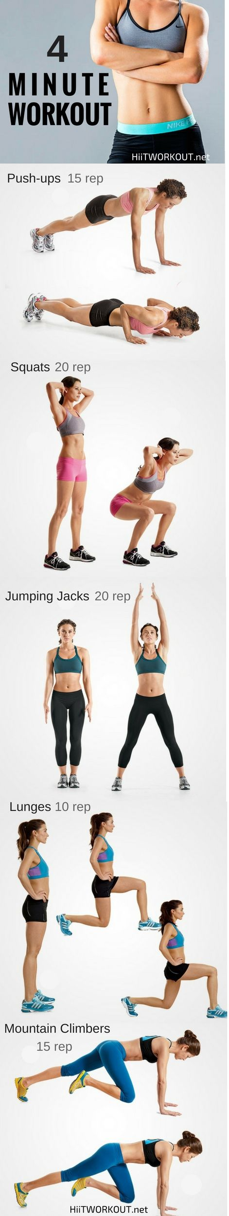 4 minutes a day is better than nothing at all.This kinds of repetitive workouts done at intervals is highly effective at burning lots of calories in a short amount of time.