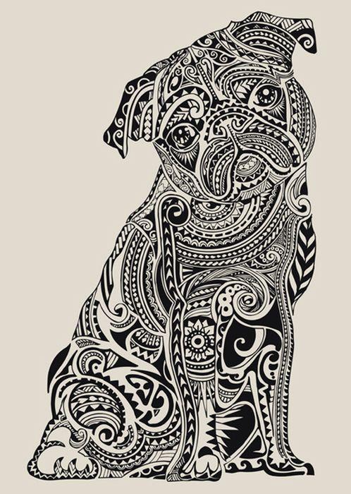 Septagonstudios Huebucket On Tumblr Polynesian Pug Mops Kunst Ausmalen Hund Malen