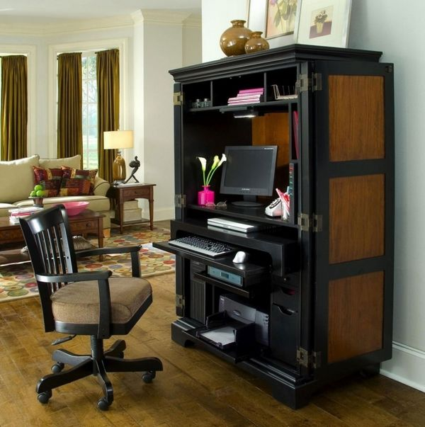 home office design oak computer armoire living room furniture ideas