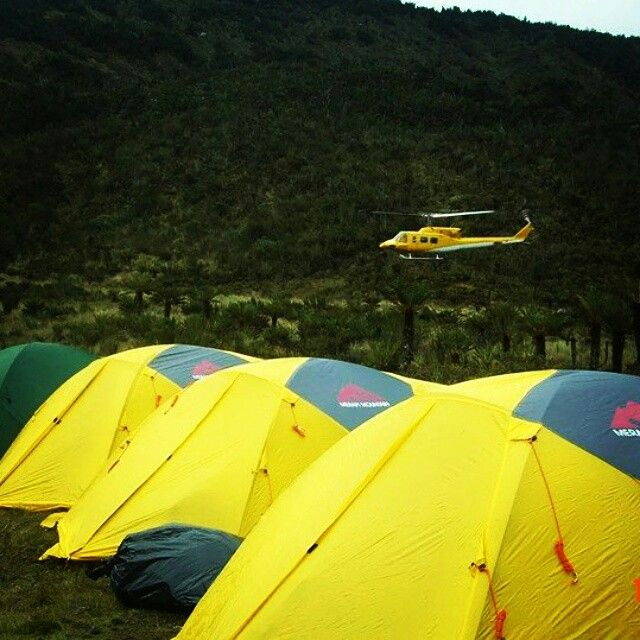 Our Exepedition tent at the Jayawijaya mountqin range. Home of Carstnzs Pyramid peak.