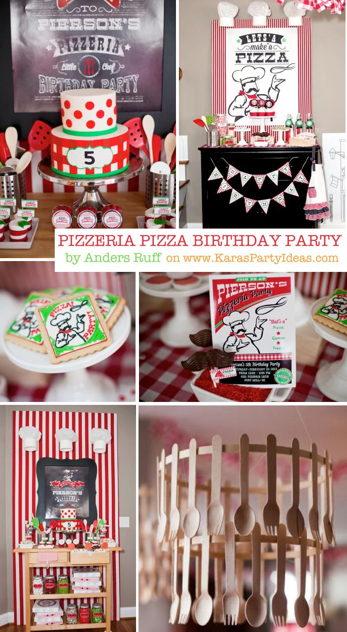 Pizzeria Little Chef pizza birthday party theme Red Green Boy Girl Kids