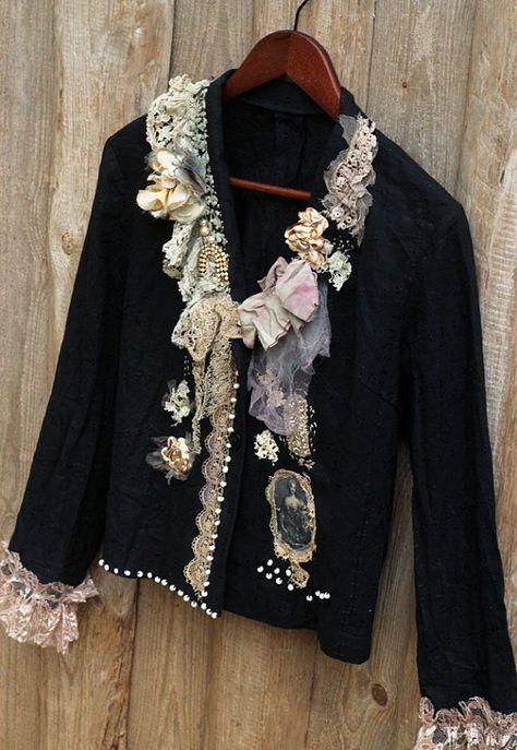 Keepsake jacket black linen jacket bohemian by FleursBoheme