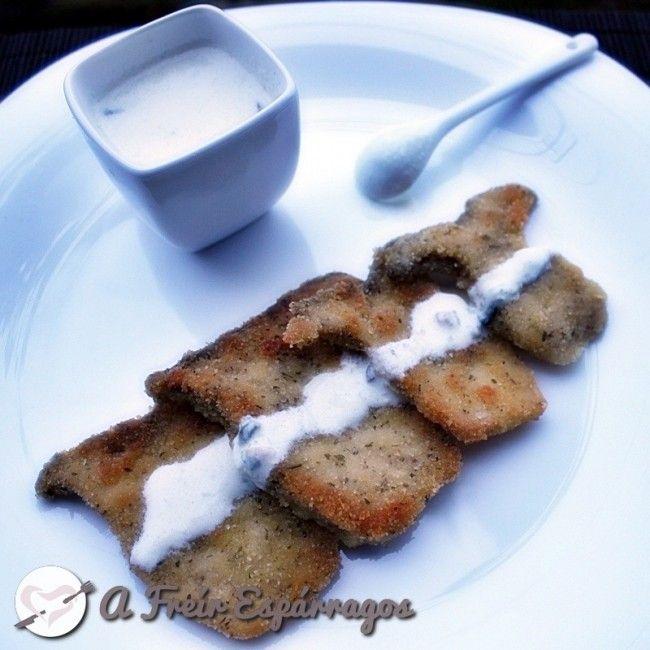 Milanesas de setas de cardo con salsa de queso azul