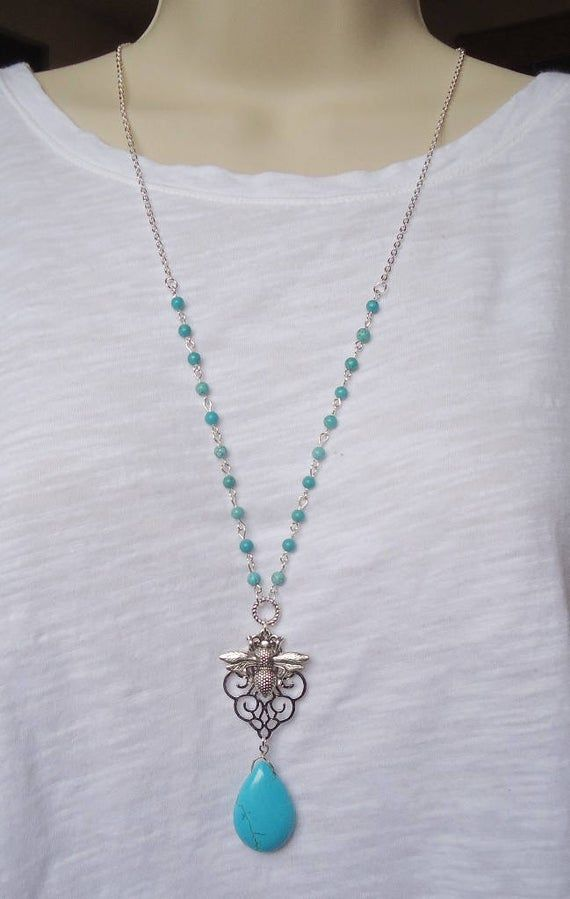 Dainty Turquoise Beaded Necklace, Long Chain Necklace