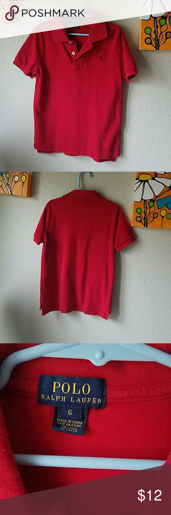 Red Ralph Lauren Polo collared shirt sz 6 sm logo Vibrant red collared shirt by Polo Ralph Lauren. My son loves wearing polos and button downs, so I bought a few of these new from the outlet.  Sz 6, very good condition. Polo by Ralph Lauren Shirts & Tops Polos