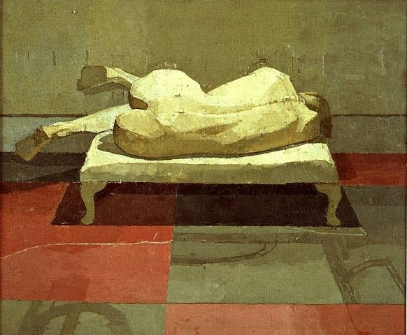Euan Uglow, Jana 14 x 16 3/4 in Oil on canvas laid on board
