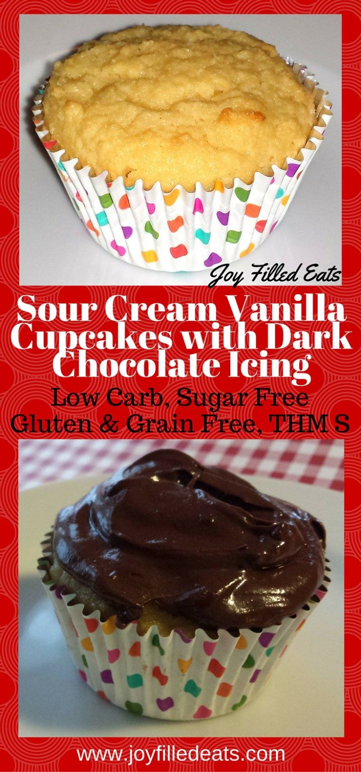 These Sour Cream Vanilla Cupcakes are perfect. Especially with Fluffy, Shiny, Dark Chocolate Frosting.They are very flavorful, gluten free, grain free, sugar free, low carb, and a THM S.