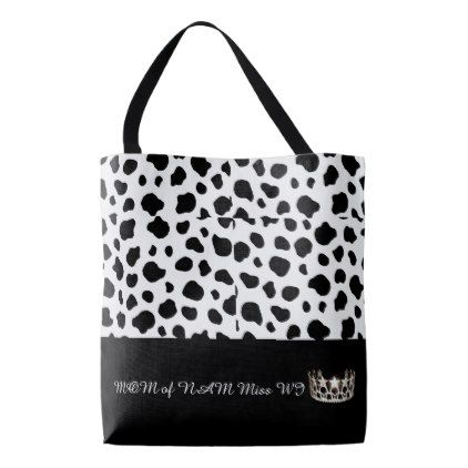 Miss USA Silver Crown Tote Bag-Large Spotted-MOM - white gifts elegant diy gift ideas