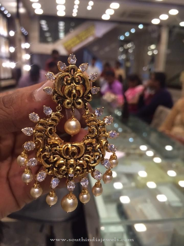 30 Grams Gold Chandbali Earrings Designs, Gold Nakshi Chandbali , Gold Earrings with weight 30 grams
