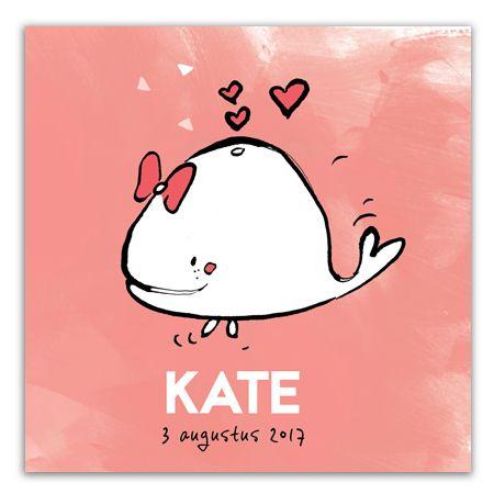 Geboortekaartje meisje roze   walvis   hartjes