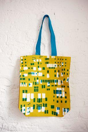Screen printed cotton Arabica shopping bag.   Made in England