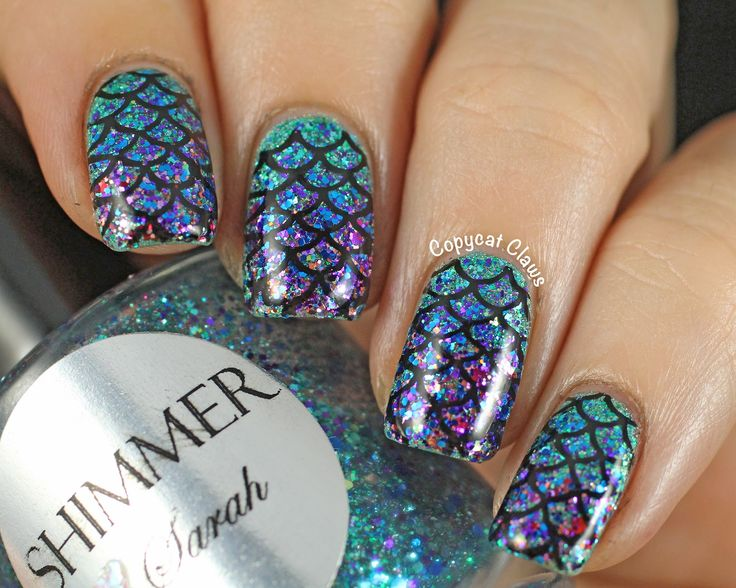 Glitter Mermaid Nails featuring Emily de Molly Land of Confusion and Shimmer Polish Sarah - Copycat Claws