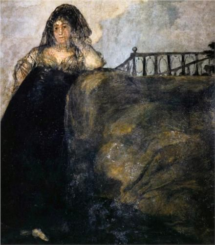 Manola (La Leocadia). Goya. 1820-1823. Black paintings at Quinta del Sordo. Oil on canvas.  147 x 132 cm. Museo del Prado. Madrid.