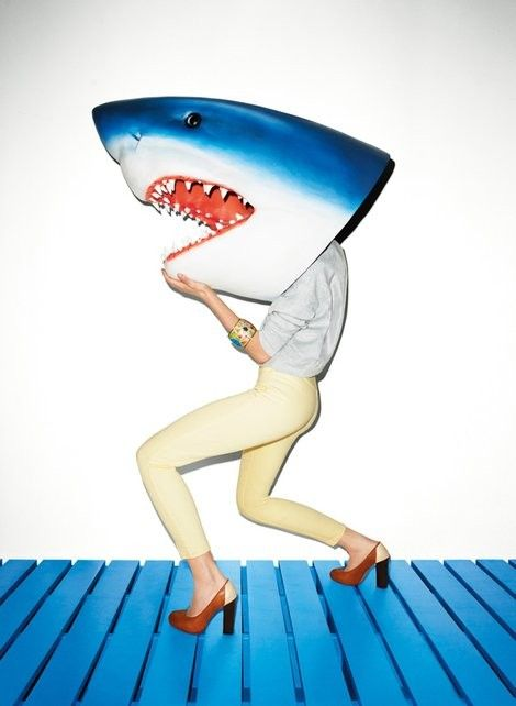Jaws ahahaha i would so walk around like this... just to pop out at people and scare them lol