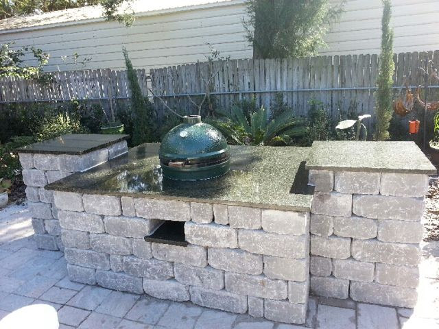 Outdoor Bar And Grille Area Made Out Of Tremron Stonegate Block With  Granite Counter Top  . Outdoor BarsOutdoor PatiosHappy DayBig Green EggsPort  ...